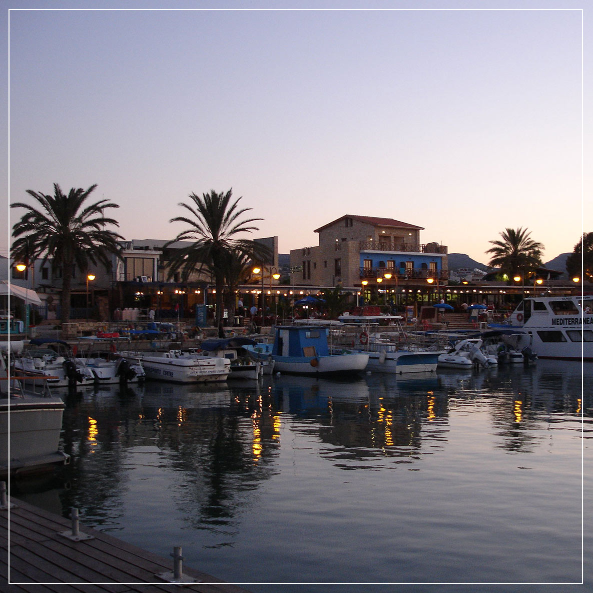 latchi harbour polis cyprus night view