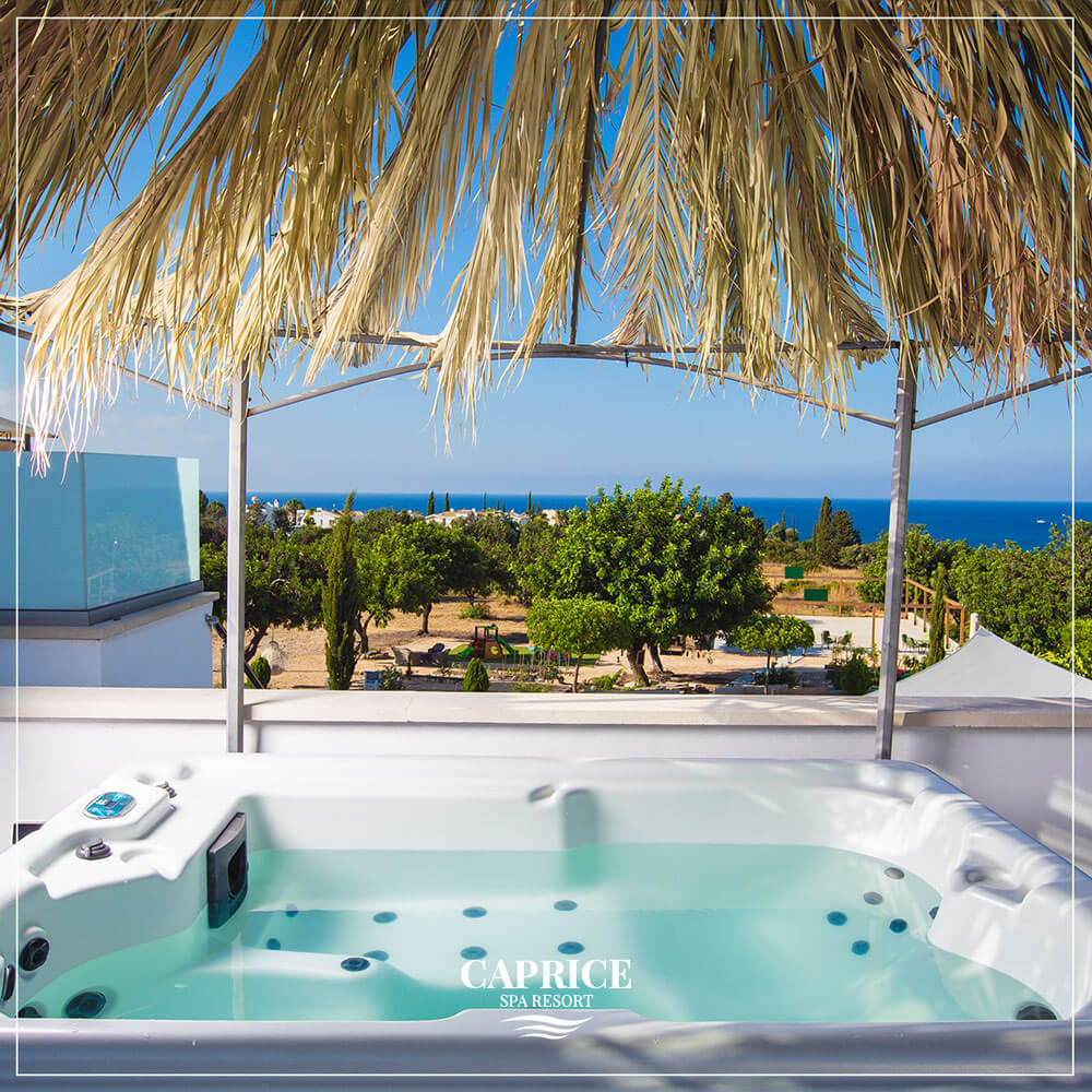 A view to Akamas Bay from a heated pool - jacuzzi with massage jets